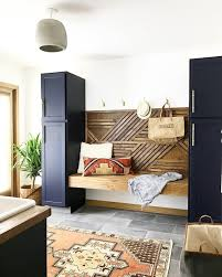 Blue, white, brass and boho laundry room | See this Instagram photo ...