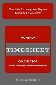 Monthly Timesheet Calculator With Overtime Calculation Printable