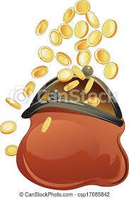Doré, pièces, bourse, ouvert. | CanStock