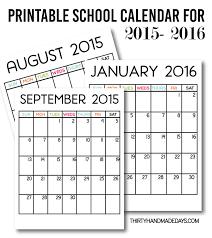 School Calendar 2015 16 Printable Printable School Calendar Zoro Braggs Co