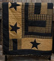 New Primitive Country Folk Art BLACK & TAN STAR QUILT Throw ... & New Primitive Country Folk Art BLACK & TAN STAR QUILT Throw Blanket Adamdwight.com