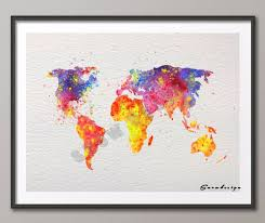 >diy original watercolor world map wall art canvas painting poster  diy original watercolor world map wall art canvas painting poster print pictures living room home decoration