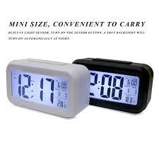 cube design digital snooze led desk alarm clock light sensor backlight thermometer timer calendar