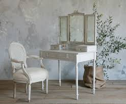 old and vintage french style small vanity table painted with white color and built in with mirror and drawer plus french style chair with arms ideas