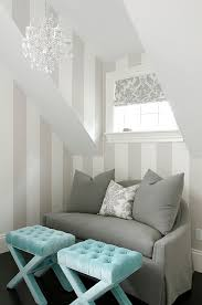 Gorgeous Turquoise Blue U0026 Gray Bedroom Sitting Area With White U0026 Gray  Metallic Stripes Walls, Gray Linen Slipcover Sofa, White U0026 Silver Gray  Damask Pillow, ...