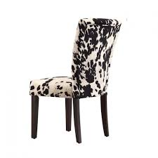 exciting black white cow print dining chair with espresso wood legs design