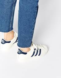adidas shoes for girls superstar blue. image 1 of adidas superstar 80s vintage white \u0026 navy trainers shoes for girls blue r
