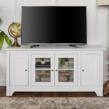 tv stand with storage.  With Walker Edison Furniture Company 52 In White Wood TV Media Stand Storage  Console With Tv A