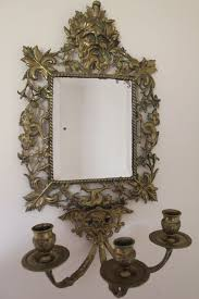rectangular bronze wall mirror with three candles holders france ca 1900