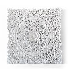 white carved wood wall decor balinese authentic wall hanging panel