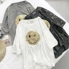 Bling Smile T Shirts <b>Women Summer 2019</b> New O Neck Short ...
