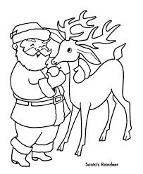 Santa Claus Reindeer Christmas Coloring Pages For Kids Reindeer