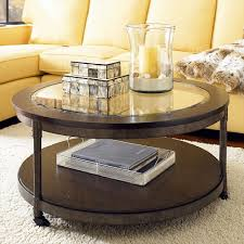 Round Living Room Chair Contemporary Round Glass Top Coffee Table 2 Caster Wheels Glass