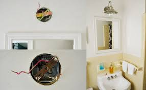 3 images in a collage top left shows a hole in a wall with wires wiring and mounting although vanity lights