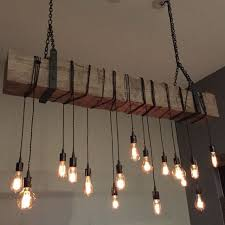 a custom reclaimed barn beam chandelier light fixture modern industrial rustic restaurant bar lighting made to order from 7m woodworking