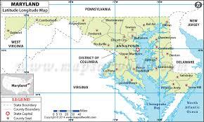 Buy Maryland Latitude Longitude Map