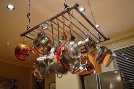 modern hanging pot rack large