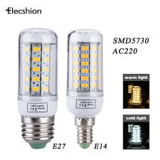 elecshion led corn e27 e14 ac 220v bulbs s lamp light source led candle lights for home smd 5730 daytime running chandelier