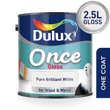 Dulux One Coat Colour Chart Dulux Once Gloss Paint For Wood And Metal Pure Brilliant White 2 5l
