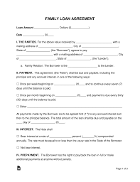 Family Loan Template Free Family Loan Agreement Template Pdf Word Eforms Free