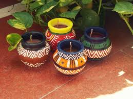 matki candles handmade candles in the traditional indian matkis with indian ethnic designs painting potspottery paintingindian