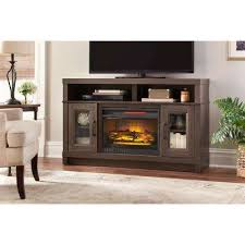 freestanding electric fireplace tv stand in gray oak