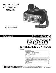 code 3 v con siren user manual 20 pages