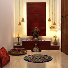Pooja Room Steps Design Chic Lighting Colorful Add Ons Complete This Pooja Room