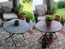 before and after red wood table