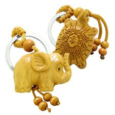 amulet baby elephant and sea turtle good luck charm protection powers feng shui keychain set blessings