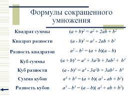 Контрольная работа класс формулы сокращенного умножения ищем  Контрольная работа 7 класс формулы сокращенного умножения