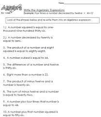 each algebraic expression worksheet