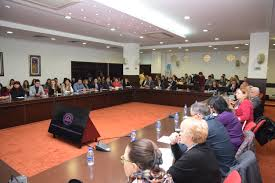 in the large conference hall