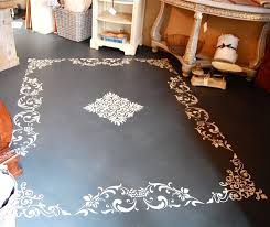 interior decoration dark gray floor and diy painting carpet with chalk paint white rectangle pattern fl