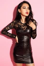 black leather lace dresses