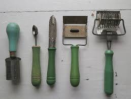 vintage kitchen tools. uncommon vintage kitchen tools - lot of 5 cheese slicer, melon baller, green
