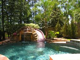 backyard pool with slides. Waterfall Slides Backyard Pool Ideas With S
