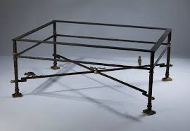 wrought iron coffee table in brown bronze distressed gold highlights with glass top