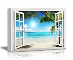 wall26 canvas print wall art window frame style wall decor beautiful tropical beach white on amazon beach canvas wall art with amazon wall26 canvas print wall art window frame style wall