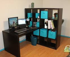 our new office using ikea expedit bookshelf as a room divider desk on each side