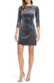 Eliza J Dress Size Chart Sequin Velvet Sheath Dress In Silver
