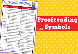 Proofreading Symbols Chart Proofreading Symbols Teacher Resources And Classroom