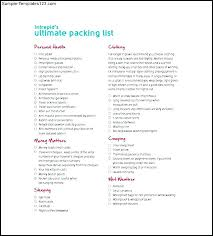 Packing List Excel Template Word Templates Travel – Ilford