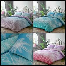 details about fl ombre palm leaf teal pink lilac nature duvet cover pillowcase reversible