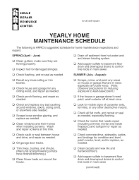 Home Maintenance Schedule Spreadsheet Yearly Home Maintenance Schedule Templates At