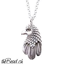 sterling silver chain men eagle head pendant