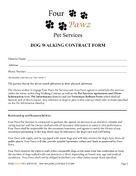 Pet Information Template Dog Walking Contract Form Client S Name ______ ______