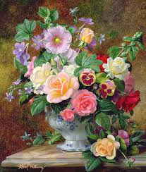 still life painting roses pansies and other flowers in a vase by albert williams