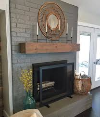 Light Grey Painted Brick Fireplace We Painted The Fireplace Gauntlet Gray By Sherwin Williams