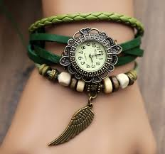 vintage style leather strap watches woman girl quartz wrist watch bracelet watch green on nvy